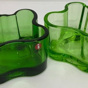 Iittale  Green Glass Dishes from Finland